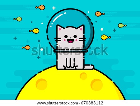 happy vector emoticon cat with