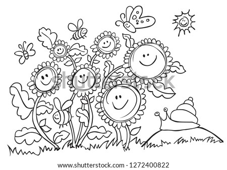 happy vector sunflowers  bees