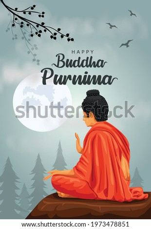 Happy Vesak Day, Buddha Purnima wishes greetings with buddha and lotus illustration. Can be used for poster, banner, logo, background, greetings, print design, festive elements. vector illustration.