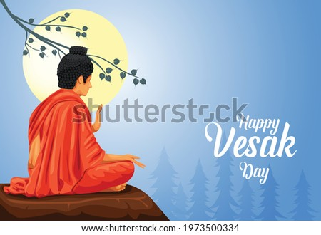 Happy Vesak Day, Buddha Purnima wishes greetings with buddha. Can be used for poster, banner, logo, background, greetings, print design, festive elements. vector illustration.