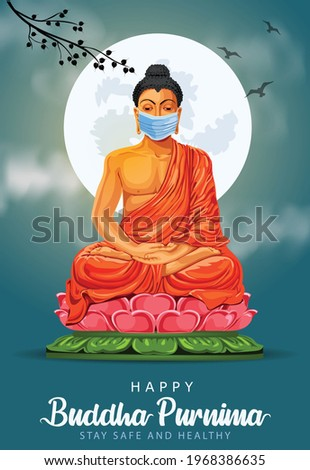 Happy Vesak Day, Buddha Purnima wishes greetings with buddha wearing surgical mask. coronavirus or covid-19 concept Can be used for poster, banner, logo, background, greetings. vector illustration
