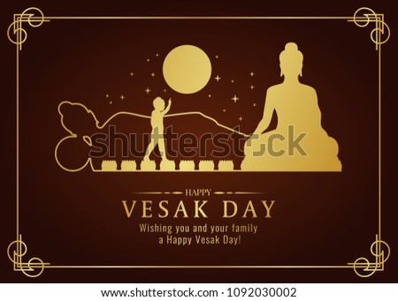 happy vesak day card with gold