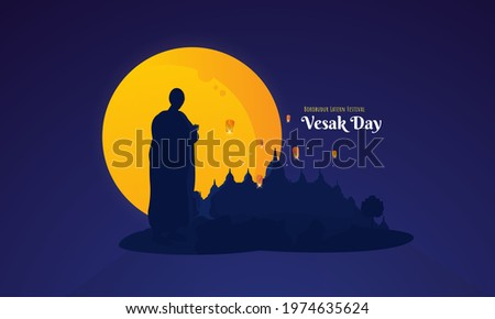 Happy Vesak Day greetings with a silhouette of buddha character illustration