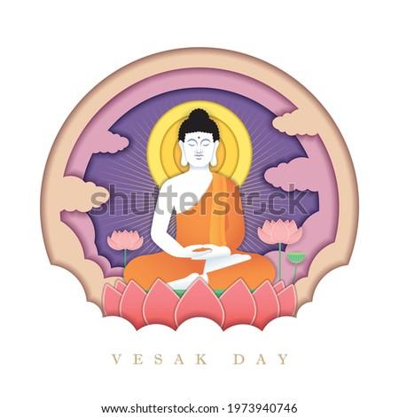 Happy vesak day or buddha purnima paper art. Lord Buddha meditating on lotus in flat design. 3D paper cut greeting card. Vector illustration.