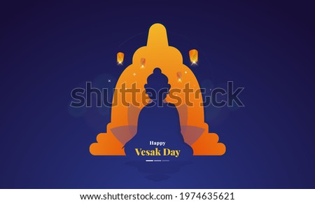 Happy Vesak Day with illustration of meditation buddha character silhouettes concept