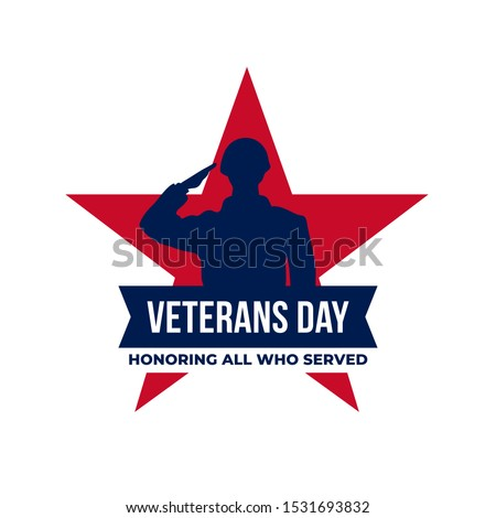 Happy veterans day honoring all who served retro vintage logo badge celebration poster background vector design. Soldier military salutation silhouette illustration with star graphic ornament