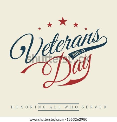Happy Veterans day letter vintage style background. November 11 holiday background. Vector illustration EPS.8 EPS.10