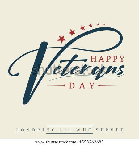 Happy Veterans day letter vintage style emblem background. November 11 holiday background. Vector illustration EPS.8 EPS.10
