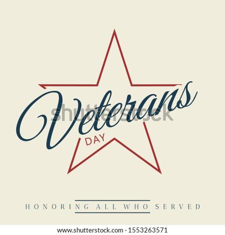 Happy Veterans day letter vintage style emblem background with simple star. November 11 holiday background. Vector illustration EPS.8 EPS.10