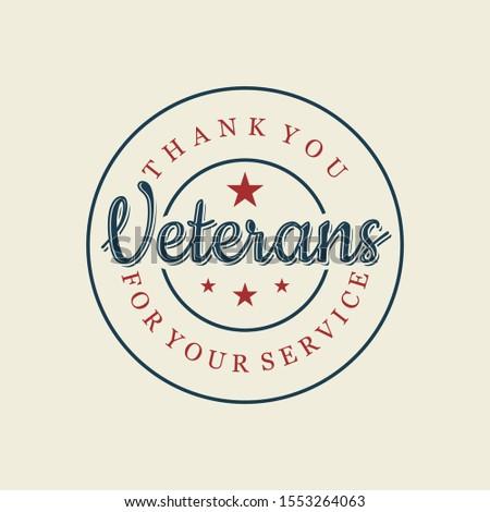 Happy Veterans day letter vintage style emblem stamp background. November 11 holiday background. Vector illustration EPS.8 EPS.10