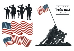 happy veterans day lettering in poster with soldiers with flag icons vector illustration design