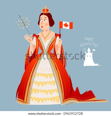 Happy Victoria Day! Canadian public holiday. Queen Victoria holds the Canadian flag in her hand. Vector illustration.  ストックフォト ©