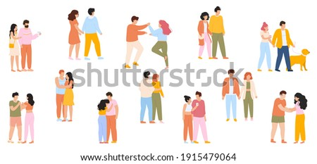 Happy walking couples. Cute couples on romantic date walking together, young couples in love. Adorable couple characters vector illustration set. Couple man and woman romance, romantic walk