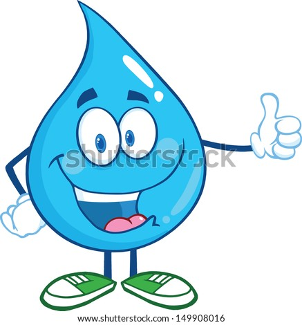 happy water drop character