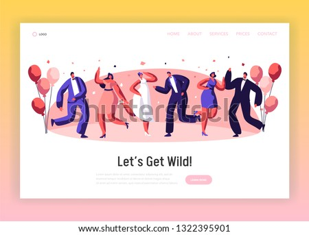Happy Wedding Dancing Ceremony Landing Page. Cheerful Married Couple Celebrate Holiday Event. Newlywed Dress-up Romance Engagement Website or Web Page. Flat Cartoon Vector Illustration