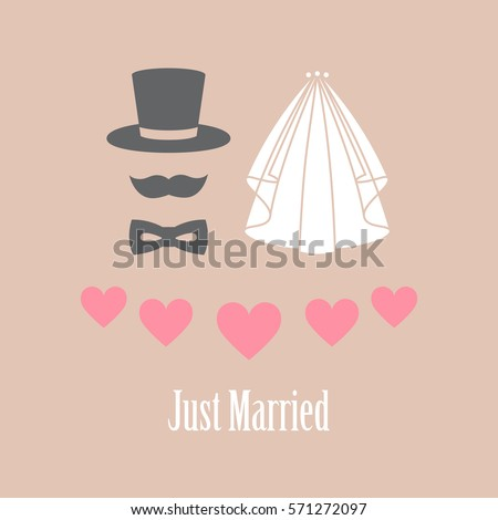 Happy wedding day card vector illustration with heart