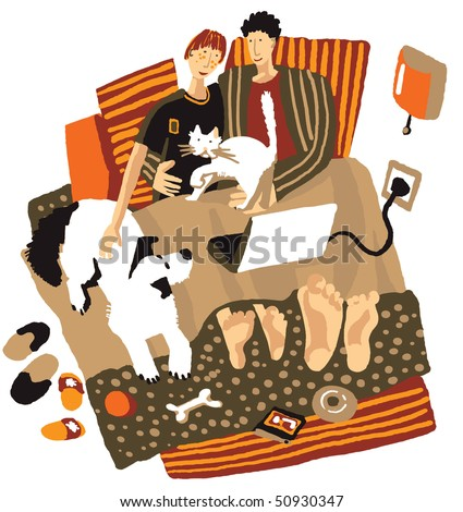Happy weekend The unrecognizable casual modern young couple with pets is laying in the bed and watching their laptop. Color vector illustration on the white background.