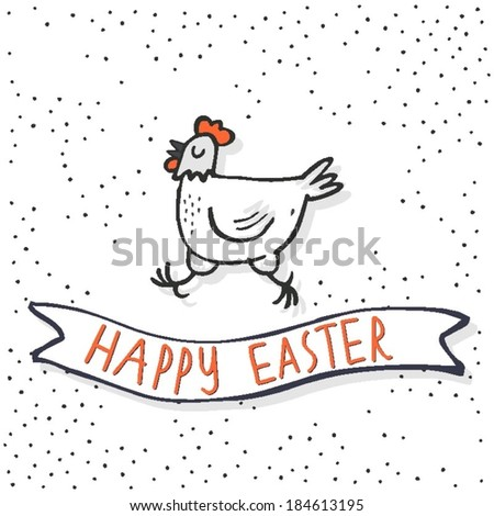 happy white hen spring holiday Easter time illustration with  banner with wishes on white dotted background
