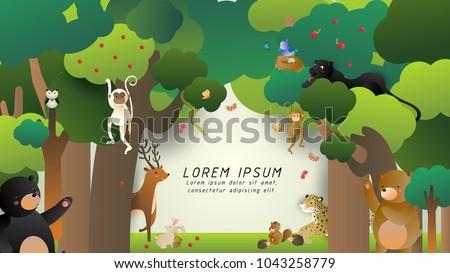 happy wild animals in the