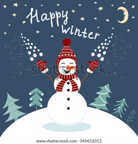 happy winter card with enjoying snowman in vector template for