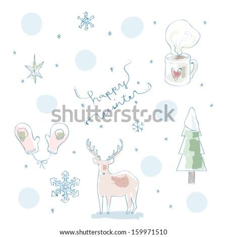 Happy Winter watercolor vector illustration