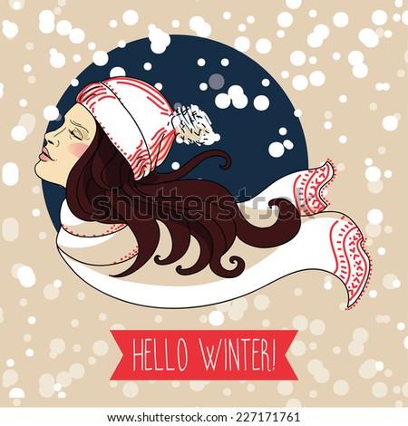 happy winter woman  snowing