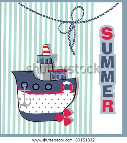 happy with the boat, summer postcards - stock vector
