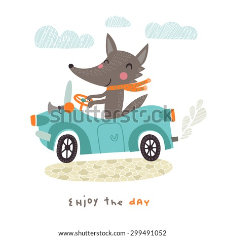 happy wolf travels by car