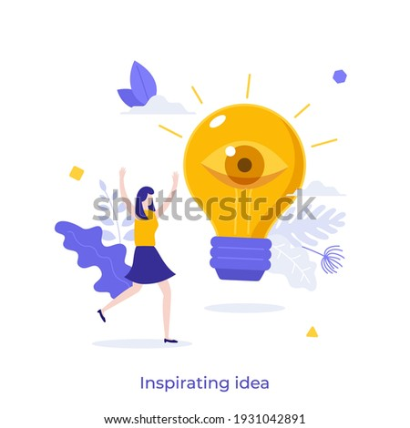 Happy woman and glowing lightbulb with open eye. Concept of inspiring creative idea, insight or breakthrough, business vision, discovery of innovative technology. Modern flat vector illustration. Foto stock ©