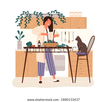 Happy woman cooking dietary vegetarian salad in kitchen vector flat illustration. Smiling female character mixing vegetables in bowl isolated on white background. Preparing healthy lunch at home Photo stock ©