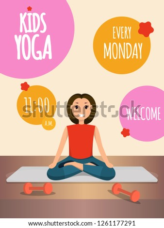 Happy Woman Doing Yoga Sport Training Program. Banner Image Character Smiling Young Girl Sitting in Lotus Pose. Informational Advertising Welcome Kids Yoga Every Monday. Healthy Lifestyle