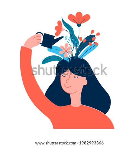 Happy woman, girl care of herself, creates good mood, happiness, self care, love, confidence, positive thinking, thoughts. Woman pouring flowers on her head. Wellness, mental health, therapy concept.