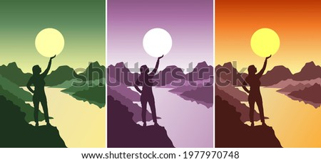 happy woman holds the sun in