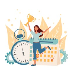 Happy woman jumping, holding golden cup near schedule and stopwatch stock vector illustration. Time management, personal productivity, successful woman concept in glat design isolated composition