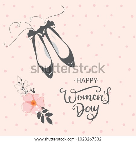Happy Woman's Day vector design for greeting cards and poster. Hand lettering text isolated on pink background. Design template celebration. Vector illustration.