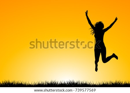 happy woman silhouette jumping