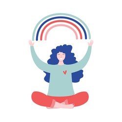 Happy woman sits in lotus pose and open her arms to the rainbow. Smiled girl creates good vibe around her. Smiling female character enjoys her freedom and life. Body positive and health care concept.