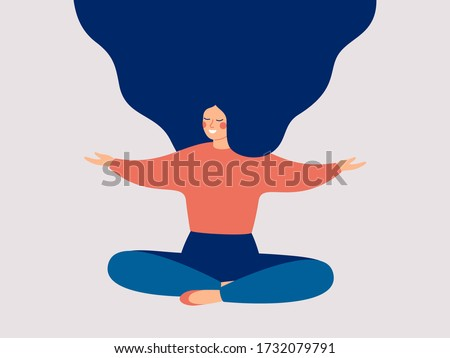 Happy woman sits on the floor with open arms. Young girl makes morning stretch. Smiling female character enjoys her freedom and life. Body positive and health care concept.