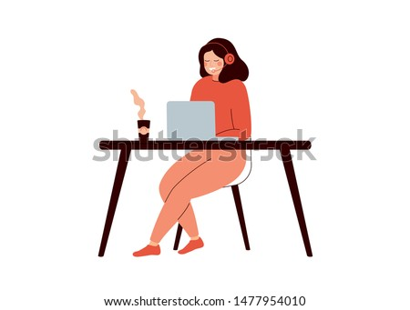 Happy woman sitting at desk and working on laptop computer. Young female helpline operator with headset consulting a client. Technical support concept. Flat cartoon colorful vector illustration.