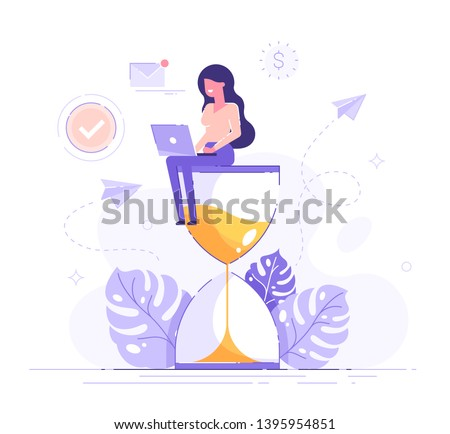 Happy woman sitting on an hourglass and working on her laptop business process icons and infographics on background. Multitasking, productivity and time management concept. Flat vector illustration