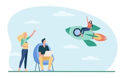 Happy woman sitting on rocket and waving colleagues. Fire, start, laptop flat vector illustration. Project startup and new business concept for banner, website design or landing web page