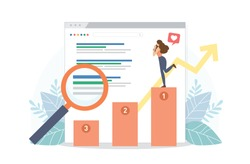 Happy woman stand on SEO top ranking dock. Google search screen with magnifier . Vector illustration flat design style. SEO, Search Engine Optimization, Top ranking Concept.