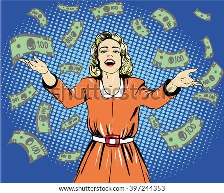 happy woman throw money vector