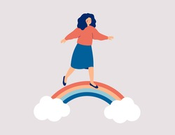 Happy woman walks on the rainbow. Smiled girl creates good vibe around her. Smiling female character enjoys her freedom and life. Body positive and balance concept