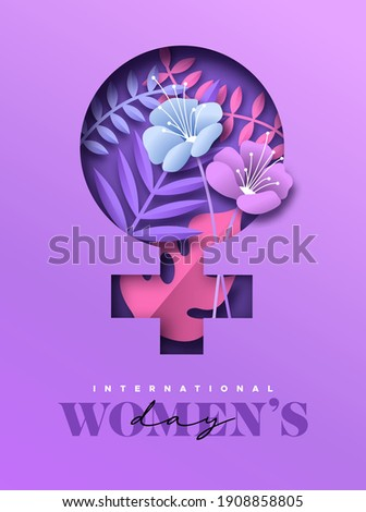 Happy Women Day greeting card illustration. 3D papercut woman symbol with beautiful tropical nature decoration and pink flowers. Paper craft design for international women's event.
