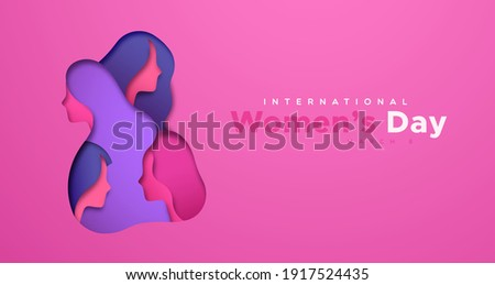 Happy Women Day greeting card illustration of 3D papercut female group faces. Pink cutout with paper craft young woman team for international women's equality event.