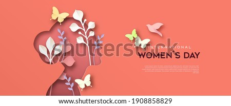 Happy Women Day greeting card template. 3D papercut female woman silhouette with beautiful spring decoration, pink butterfly and copy space. Cute paper craft design for international women's event.