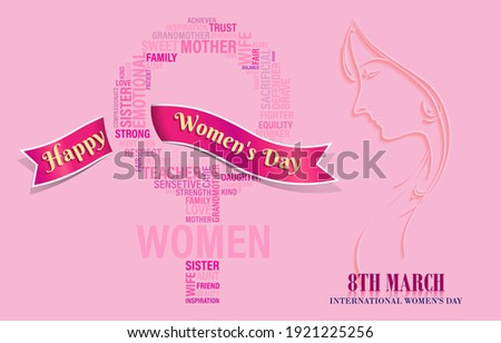 Happy Women Day greeting card, 8th march - International Women's Day.