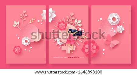 Happy Women Day holiday greeting card set of 3D papercut spring flowers and beautiful dancing woman on pink background. Cute paper craft collection for international women's event.