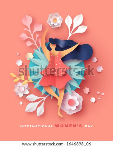 Happy Women Day holiday illustration. 3D papercut spring flowers and beautiful dancing woman on pink background. Cute paper craft design for international women's event.